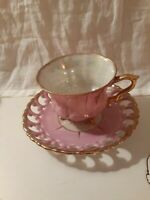 Royal Sealy Japan Lattice Cup &  Saucer Lusterware Iridescent Pink Gold