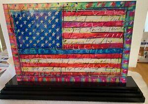 "Tim Yanke, ""Yanke Doodle"" - Ltd Ed, Signed, 2-Sided Acrylic, USA Flag Sculpture"