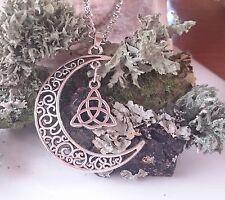Pagano Wicca Diosa Cadena Colgante Collar De Plata Amuleto Luna Triquetra + Bolsa