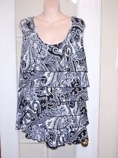 Womens Chadwicks Black White Ruffle Dressy Shirt Blouse Tank Top XL