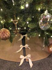 Jute Burlap Natural Hessian Christmas Tree Skirt Decorations Rustic Country