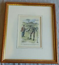 Framed print of a vintage golfing scene - Ink and watercolour