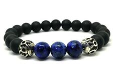 Lucky Natural Onyx Crystal Stretch Bracelet Stretchy Healing Monk men Sutra Bead