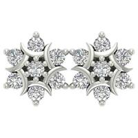VS1 E 1.00Ct Cluster Studs Earrings 18K White Gold Round Diamond Prong Set