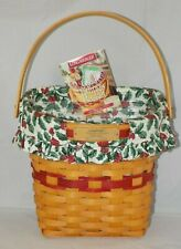 Glad Tidings Christmas w/ Holly Liner & Protector Longaberger 1998 Basket