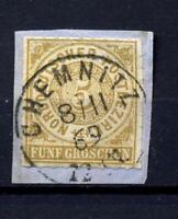 """Norddeutscher Bund 6, auf Briefstück ideal gestempelt """"CHEMNITZ"""" #g913"""