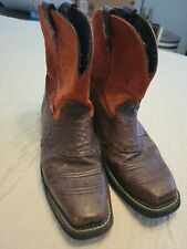 Justin Gypsy  Womens 10.5 Brown Orange Ostrich Print Leather Square Toe Boot