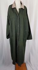 Vintage Gotcha Covered Green Jean Denim Long Maxi Duster Trench Coat Womens L