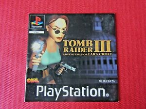 Tomb Raider III PS1 Manual Only Black Label Replacement Sony PlayStation 1