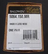 Baldwin 5064.150.Mr Satin Nickel Pair of 5064 Solid Brass Knobs Minus Rosettes