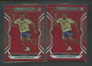 Lot(2) 2020-21 Panini Obsidian Asia Red #49 Alfredo Morelos RC Rookie /28