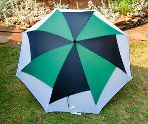 "Vintage Large Golf Umbrella 56"" Green White Black"