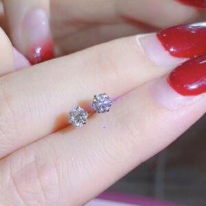 Moissanite Earrings, Engagement, Moissanite Diamond, White Gold Plated Silver