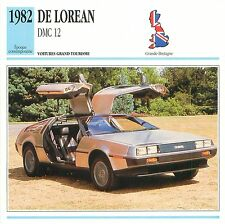 De Lorean DMC 12 GT V6 1982 GB/UK CAR VOITURE CARTE CARD FICHE