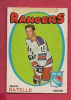 1971-72 OPC  # 97 NY RANGERS JEAN RATELLE CARD