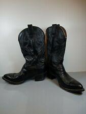 Delta Vtg Black Leather Western Cowboy Boot Men Size 8.5 D