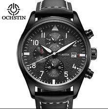 U.K. Black Pilot Military Quartz Chronograph Sports Watch With Leather Strap