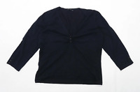 Laura Ashley Womens Size 14 Cotton Blend Black Top (Regular)