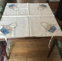 Vtg. Embroidered Bridge Tablecloth w Corner Ties - Card Suits at Each Corner