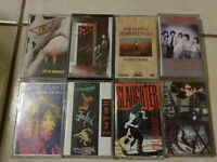 Vintage Rock And Roll Tape Cassette Lot Of 8 Aerosmith Tom Petty Robert plant