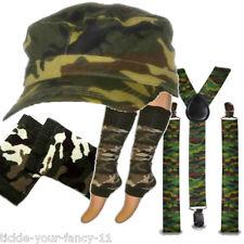 Womens Army Soldier Kit Cap Braces Leg Warmers Wristbands Fancy Dress Camouflage