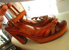 """7B 7 B VTG 70's Ladies Wooden/Leather Gladiator Platform Shoes/Sandals Brazil 4"""""""