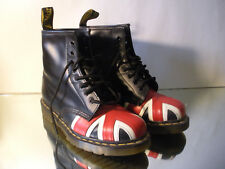 Doc Dr. MARTENS 1460 Black Union Jack British Flag Boots Mens US 7 US Ladies 8