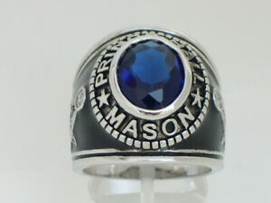 Prince Hall Mason Masonic September Blue Montana Stone Rhodium Men Ring Size 12