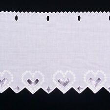 Scheibengardine Batist mit Stickerei weiß 47cm hoch