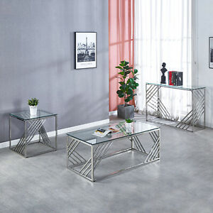 Tempered Glass Side End Table/Console Table/Coffee Table Chrome Legs Living Room