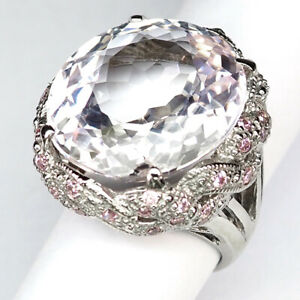 Kunzite Soft Pink Oval 40.10 Ct. 925 Sterling Silver Ring Size 7 Jewelry Gift
