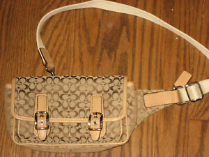 Coach womens fanny belt pack purse canvas leather trim signature bag beige