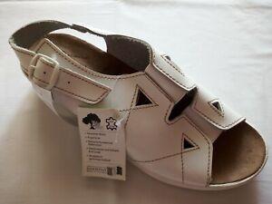 Biowell Damen Sommer Schuhe Sandalen Gr.40/41 Leder bequem weiß Keilabsatz NEU