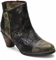 L`Artiste by Spring Step Women's Leather Booties Waterlily in Black Multi