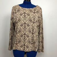 Croft & Barrow Women Size 1X Floral Print Blouse Top Stretch Tee 100%Pima Cotton