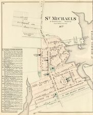 "St Michaels, Md 1877 Town Map POSTER 17""X22"" TalbotCounty COPY of RARE original"