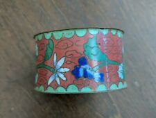 New listing Vintage Chinese Cloisonne Napkin Ring Floral Pattern, Red, Green, Blue 1890's