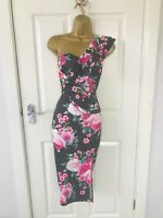 Black Pink Floral Ruffle Frill Evening Occasion Bodycon Midi Wiggle Dress £65
