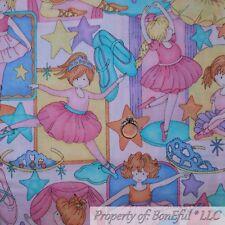 BonEful FABRIC FQ Cotton Quilt VTG Rainbow Ballet Dance Baby Girl Tutu Pink RARE
