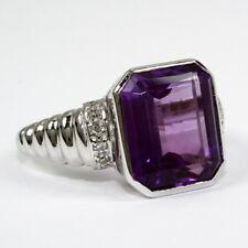 Schwerer Ring 585 Weissgold mit wunderschönem Amethyst und Diamanten