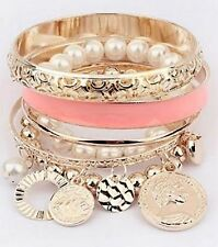 Statement Assorted Bangle Coin Bracelet  Pearl Charms Bangle Cuff Wedding