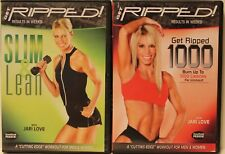 2 Jari Love workout exercise fitness DVD lot Get Ripped 1000 Slim Lean full body
