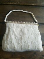Vintage 1950s Imported Hand Beaded Purse Pearly White with Gold Beaded Strap