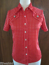 Womens Vintage 50'S Red White Polka Dot Shirt Rockabilly Lucite Buttons M-L