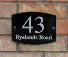 Acrylic house number plaque 200 x 150mm designer engraved plaque