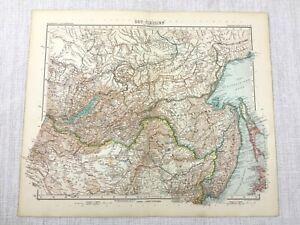 1907 Antique Map of Siberia Russia Priamurye Amur Oblast Russian Far East