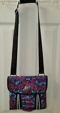 Betsey Johnson Roses Design Purple Pink Blue Zipper Look Handbag Purse