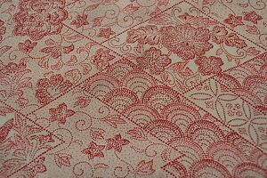 Japanese Silk Fabric Off White with Red Dotted Geometric Floral Design 134