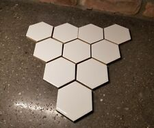 Lot 10 Vintage Romany White RETRO Hexagon Beehive Ceramic Tile NOS