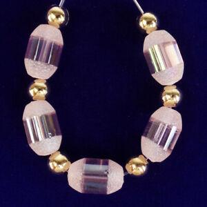 5Pcs/set Pink Crystal Agate Druzy Quartz Geode Drum Pendant Bead D69611